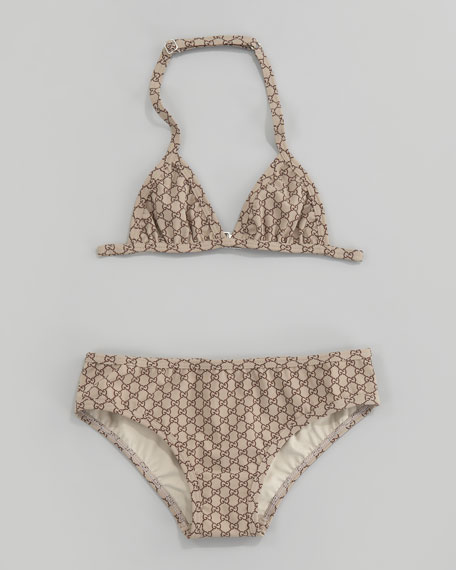 98451c283c1f9 Gucci GG Print Two-Piece Triangle Swimsuit