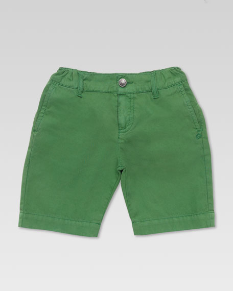 Washed Cotton Bermuda Shorts, Green