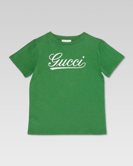 Gucci Script Tee, Grass/White
