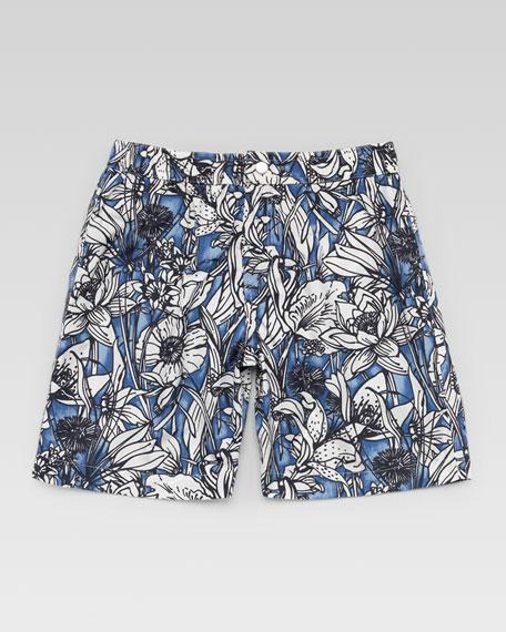 Floral Swim Trunks, Blue/White