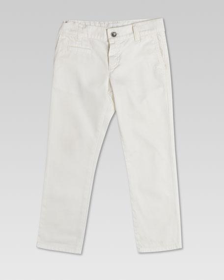 Washed Cotton Gabardine Pants, White