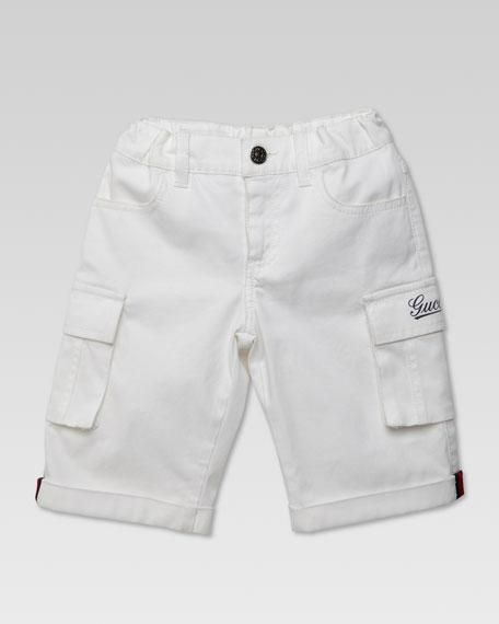 Cargo Gucci-Script Print Shorts, White