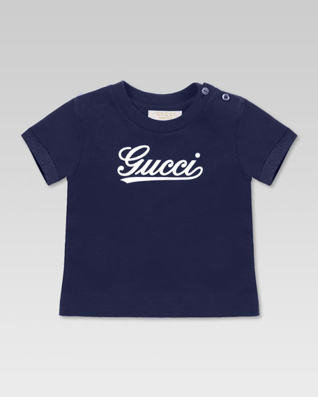 Gucci Script Tee, Blue/White
