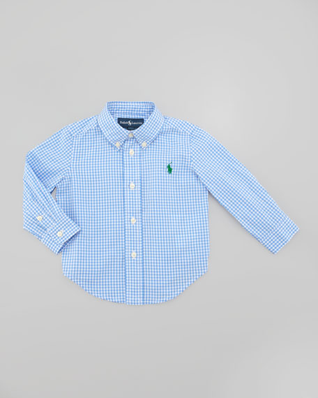 Blake Long Sleeve Gingham Shirt, Light Blue Multi, Sizes 8-10