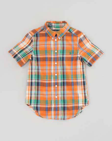 Blake Short-Sleeve Plaid Shirt, Orange Multi, Sizes 8-12