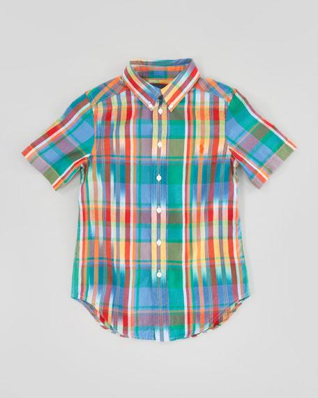 Blake Short-Sleeve Plaid Shirt, Green Multi, Sizes 8-12