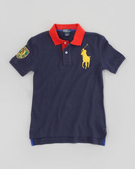 Big Pony Contrast Collar Mesh Polo, Graphic Navy, Sizes 8-10