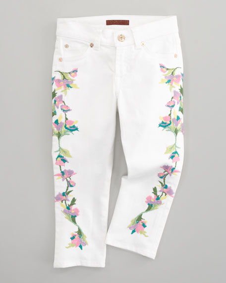 Floral-Embroidered Cropped Skinny Jeans, Sizes 8-10