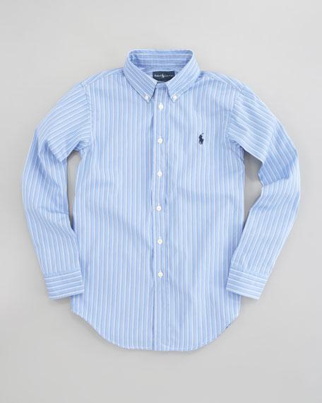 Custom-Fit Striped Oxford Shirt, Sizes 4-7