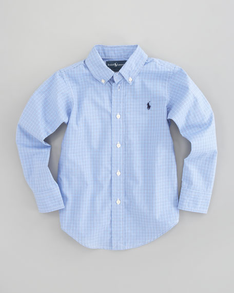 Custom-Fit Tattersall Oxford Shirt, Sizes 4-7