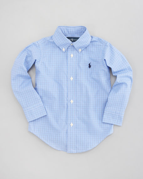 Custom-Fit Tattersall Oxford Shirt, Sizes 8-14