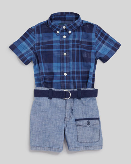 Blue Plaid Short Sleeve Shirt & Chambray Shorts Set, 12-24 mo.