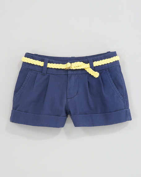 Rope Belt Navy Chino Shorts, Sizes 2T-6X