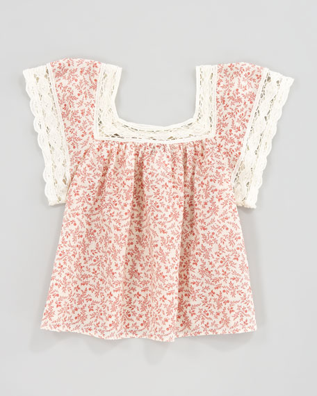 Crochet Lace and Floral-Print Top
