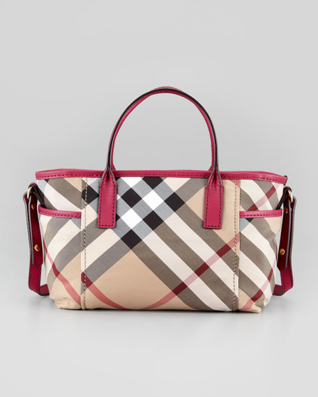 Girls' Check Tote Bag, Rhubarb Pink