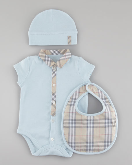 Check Playsuit, Bib & Hat Set, Porcelain Blue