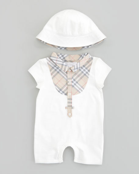 Check Bib Playsuit & Sun Hat Set