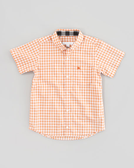 Gingham-Check Short-Sleeve Shirt, Clementine, Kid's Sizes