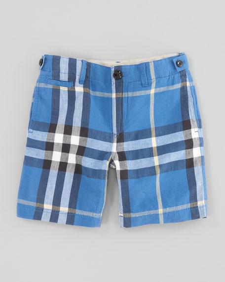 Mini Check Shorts, Cornflower Blue