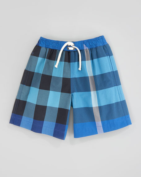Cobalt/Turquoise Mini Check Swim Trunks, Kids Sizes