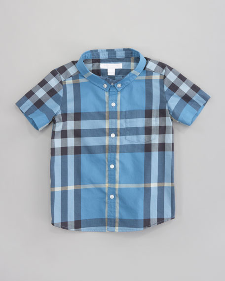 Mini Short Sleeve Check Shirt, Blue