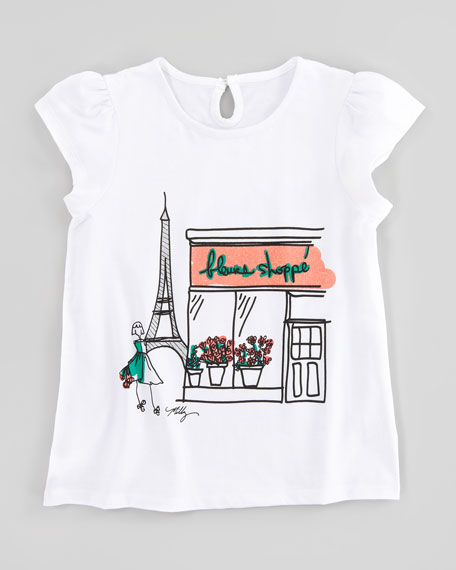 Paris Flower Shop Graphic Flutter Sleeve Tee, Sizes 8-10