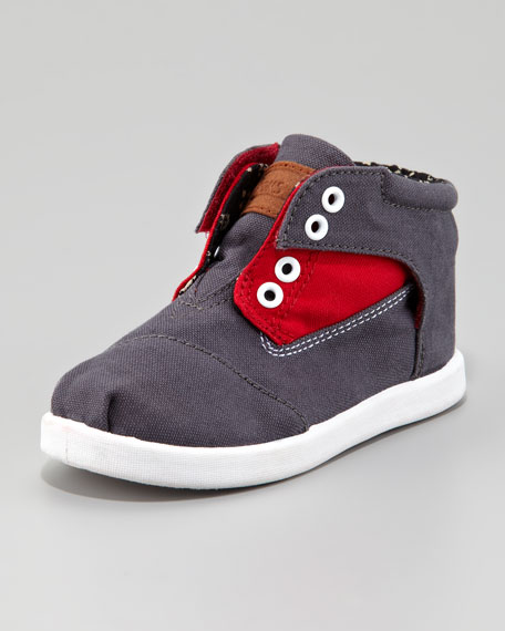 Colorblock Botas Shoe, Red/Gray, Tiny