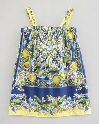 Floral-Lemon Print Poplin Dress