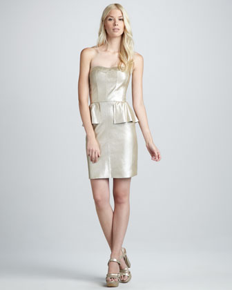 Metallic Leather Bustier Peplum Dress