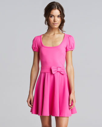 Bow-Waist Jersey Dress, Bright Pink