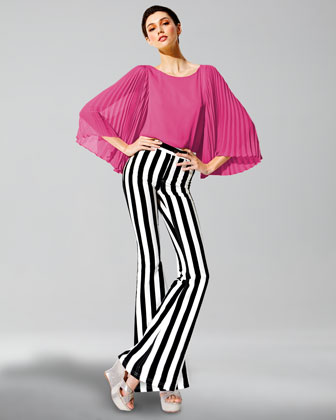 Briar Pleated-Sleeve Silk Top