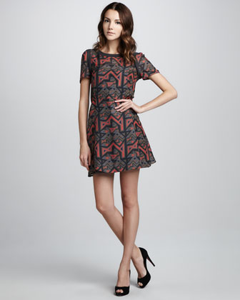 Geo Maze Printed A-Line Dress