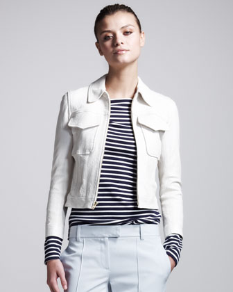 Vika Cropped Leather Jacket
