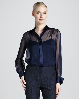 Robin Silk Blouse, Navy Yard