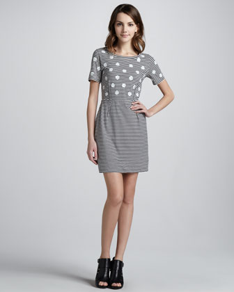 Willa Dotted Striped Dress, Tapioca