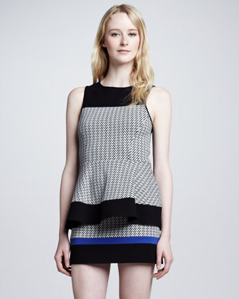 Houndstooth Colorblock Knit Mini Skirt