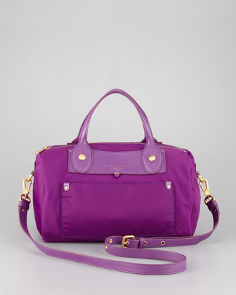 Preppy Nylon Taryn Satchel Bag, Violet