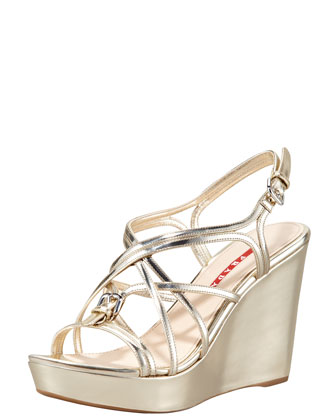 Metallic Strappy Wedge Sandal, Gold