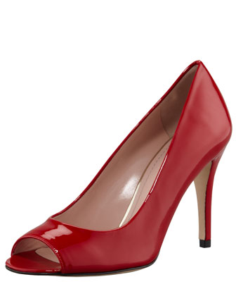Stylish Peep-Toe Pump, Flame Red