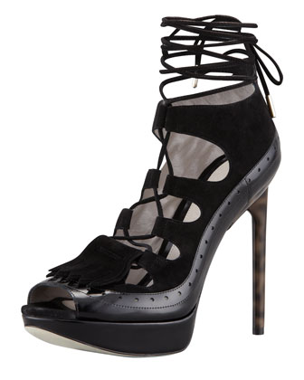 Lace-Up High Heel Platform Sandal, Black