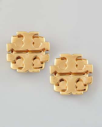 Small T-Logo Stud Earrings, Golden