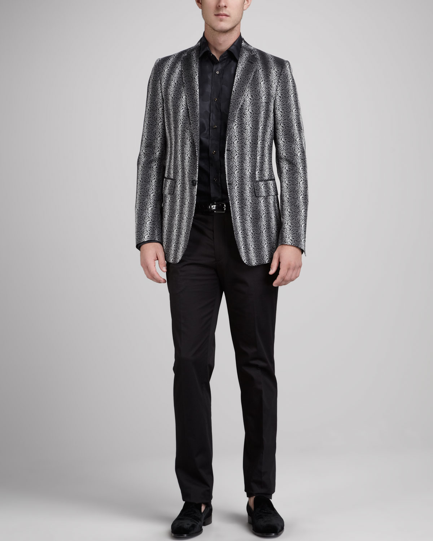 Etro Paisley Stripe Evening Jacket, Camo Print Sport Shirt \u0026amp; Piped