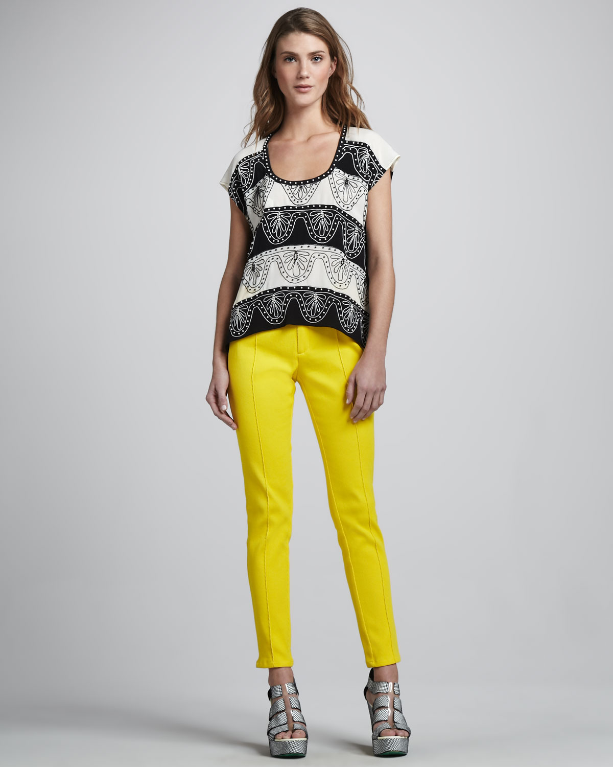 Nanette Lepore Roundup Skinny Pants \u0026amp; Two Step Embroidered Top