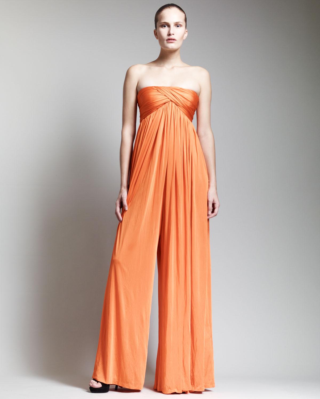 Alexander mcqueen strapless empire waist jumpsuit orange