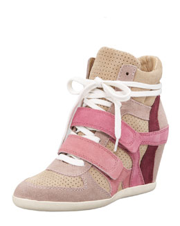 Ash Colorblock Suede Wedge Sneaker
