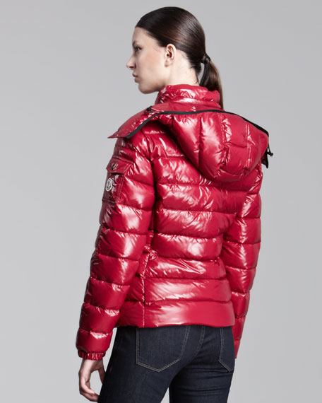 Short Hooded Laque Puffer Jacket, Berry