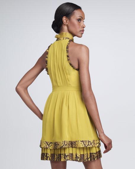 Python-Trimmed Draped Dress
