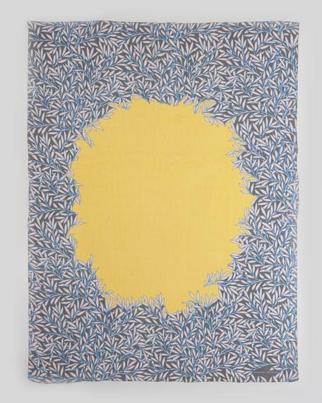 Circle Leaf-Print Silk Chiffon Scarf