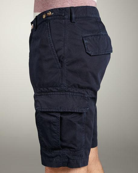 Striped Cargo Shorts, Navy