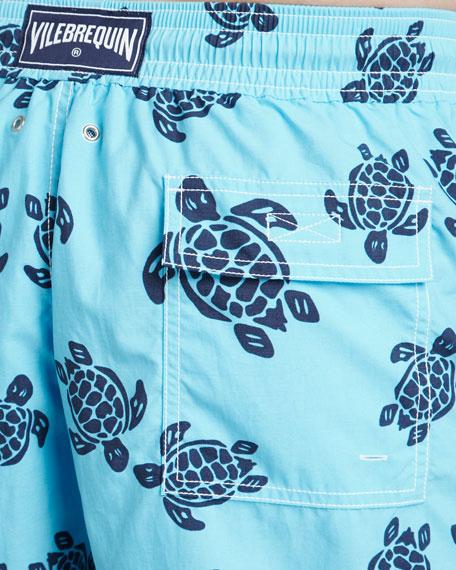 Moorea Turtle Swim Trunks, Turquoise